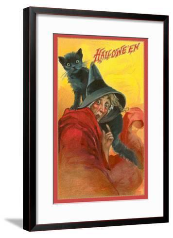 Halloween, Startled Witch and Cat--Framed Art Print