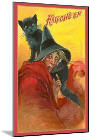 Halloween, Startled Witch and Cat--Mounted Art Print