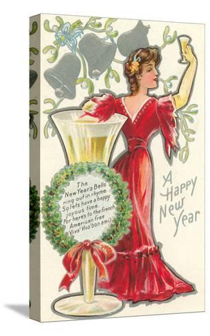 Happy New Year, Victorian Lady, Poem--Stretched Canvas Print