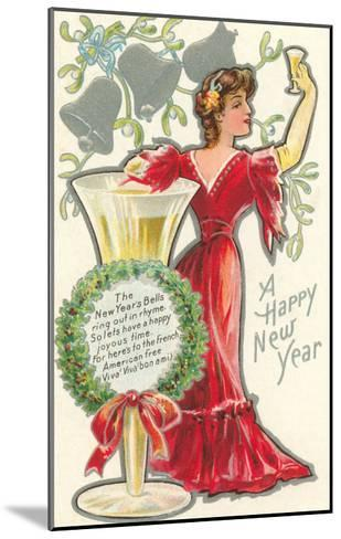 Happy New Year, Victorian Lady, Poem--Mounted Art Print