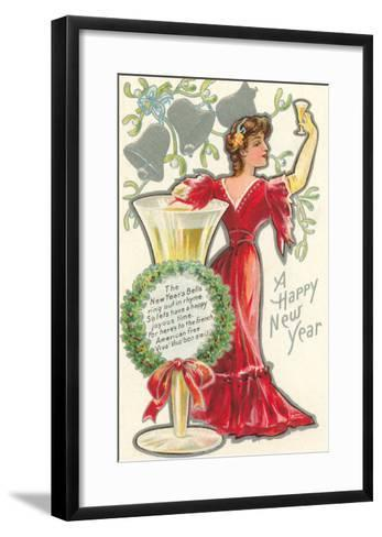 Happy New Year, Victorian Lady, Poem--Framed Art Print