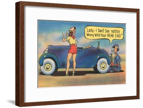 Naughty Mechanic Joke--Framed Art Print