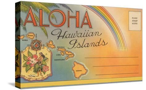 Aloha, Hawaiian Islands, Folder--Stretched Canvas Print