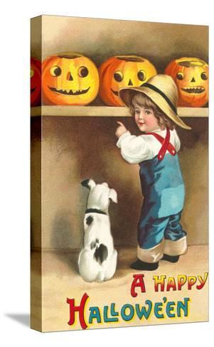 A Happy Halloween, Dog and Boy with Jack O'Lanterns--Stretched Canvas Print