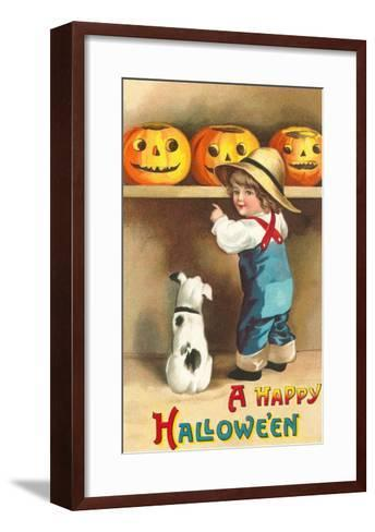 A Happy Halloween, Dog and Boy with Jack O'Lanterns--Framed Art Print