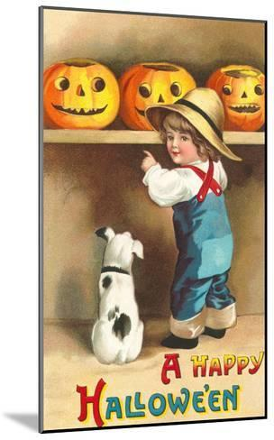 A Happy Halloween, Dog and Boy with Jack O'Lanterns--Mounted Art Print