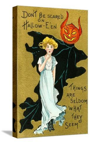 Halloween, Girl and Jack O'Lantern Goblin--Stretched Canvas Print