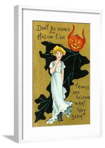 Halloween, Girl and Jack O'Lantern Goblin--Framed Art Print