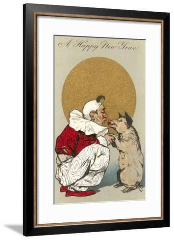 Happy New Year, Clown Kissing Pig--Framed Art Print