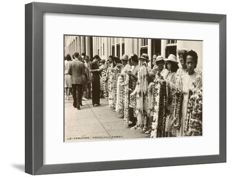 Lei Vendors, Honolulu, Hawaii--Framed Art Print