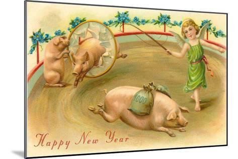 Happy New Year, Performing Pigs--Mounted Art Print