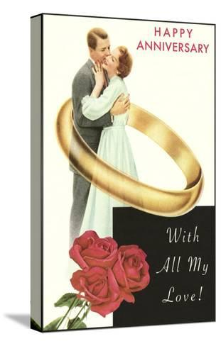 Happy Anniversary, Couple in Wedding Band--Stretched Canvas Print