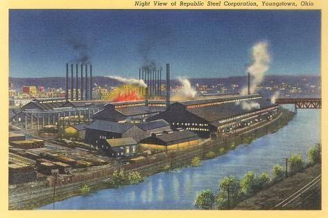 Night, Republic Steel Corporation, Youngstown, Ohio--Stretched Canvas Print