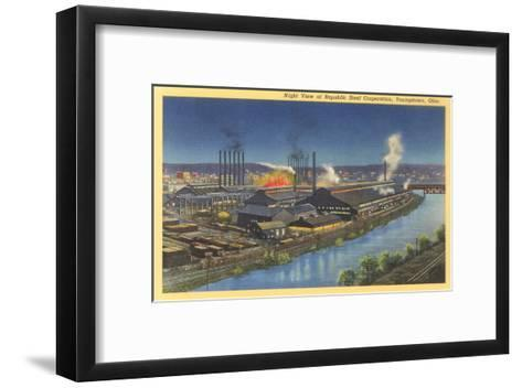 Night, Republic Steel Corporation, Youngstown, Ohio--Framed Art Print