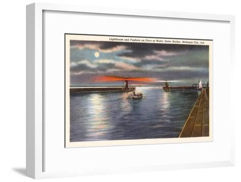 Lighthouse, Michigan City, Indiana--Framed Art Print