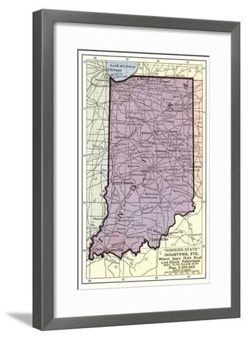 Map of Indiana--Framed Art Print