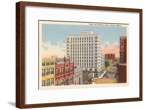 Downtown Decatur, Illinois--Framed Art Print