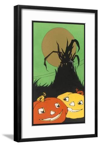 Two Happy Jack O'Lanterns--Framed Art Print