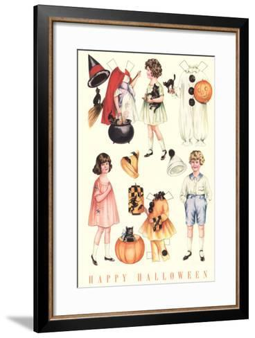 Halloween Outfits for Paper Dolls--Framed Art Print