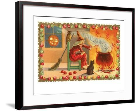 Witch with Halloween in Steam--Framed Art Print