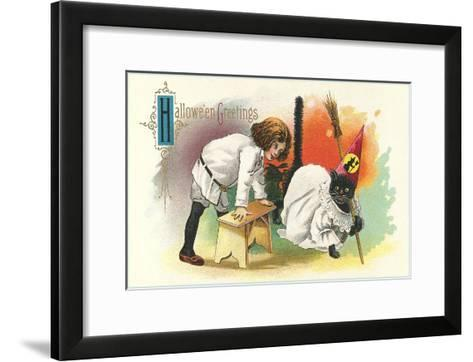 Child with Black Cat in Costume--Framed Art Print