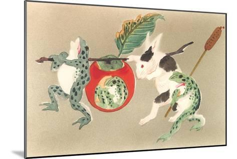 Frogs and Rabbit Carrying Palanquin--Mounted Art Print