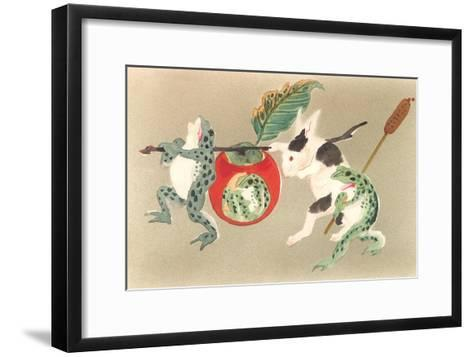 Frogs and Rabbit Carrying Palanquin--Framed Art Print