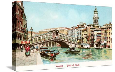 Painting of Rialto Bridge, Venice, Italy--Stretched Canvas Print