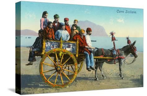 Sicilian Cart with Donkey, Italy--Stretched Canvas Print