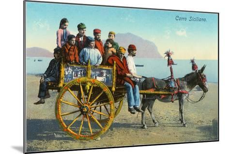Sicilian Cart with Donkey, Italy--Mounted Art Print