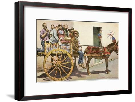 Sicilian Cart and Donkey, Palermo, Italy--Framed Art Print