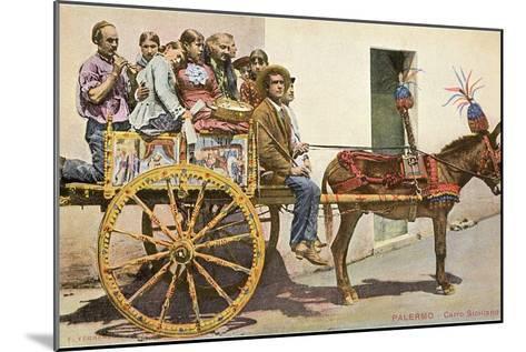Sicilian Cart and Donkey, Palermo, Italy--Mounted Art Print