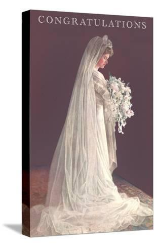 Congratulations, Bride in Gown--Stretched Canvas Print