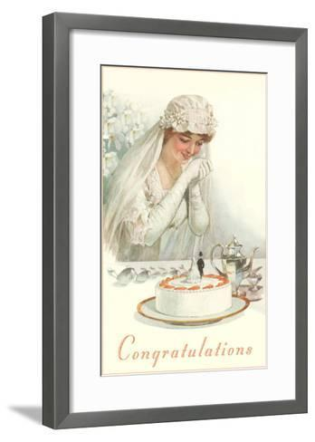 Congratulations, Bride with Cake--Framed Art Print