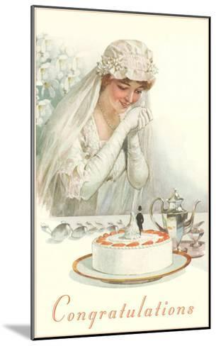 Congratulations, Bride with Cake--Mounted Art Print