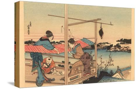 Japanese Woodblock, Fishing--Stretched Canvas Print