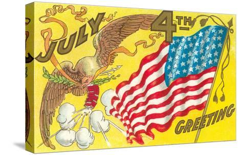 4th of July, Eagle with Firecrackers--Stretched Canvas Print