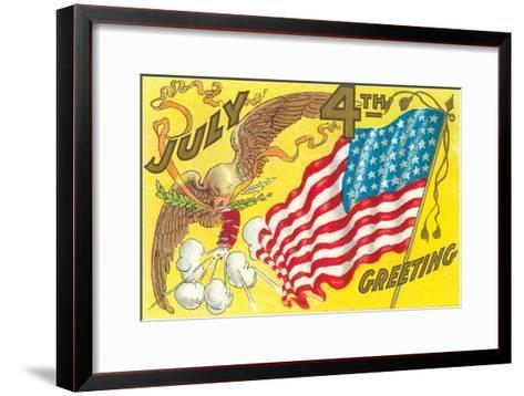 4th of July, Eagle with Firecrackers--Framed Art Print