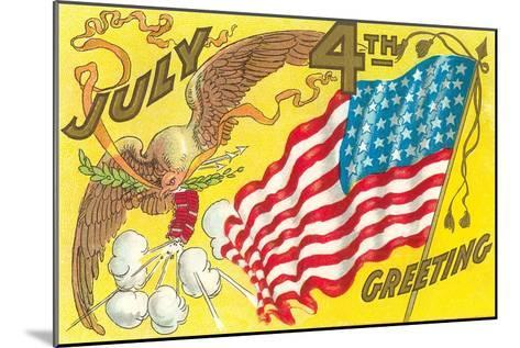 4th of July, Eagle with Firecrackers--Mounted Art Print