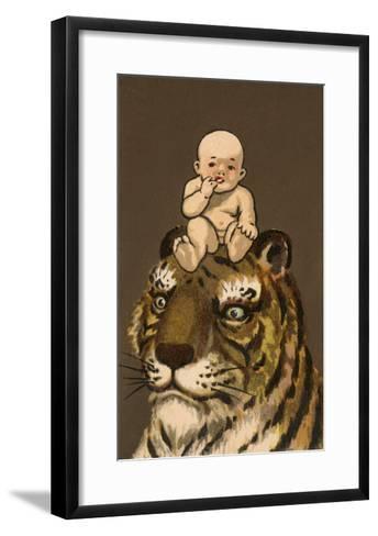 Japanese Baby on Tiger's Head--Framed Art Print