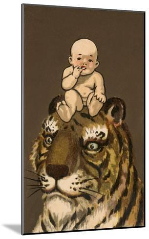 Japanese Baby on Tiger's Head--Mounted Art Print