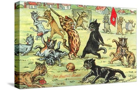 Cats Playing Soccer--Stretched Canvas Print