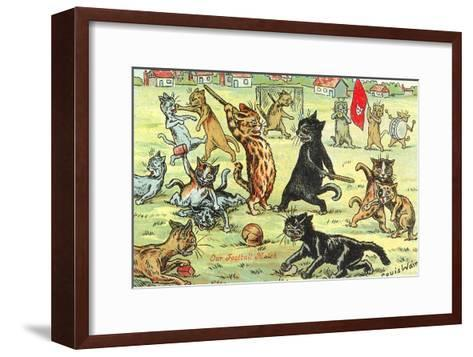 Cats Playing Soccer--Framed Art Print