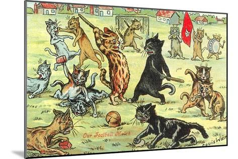 Cats Playing Soccer--Mounted Art Print