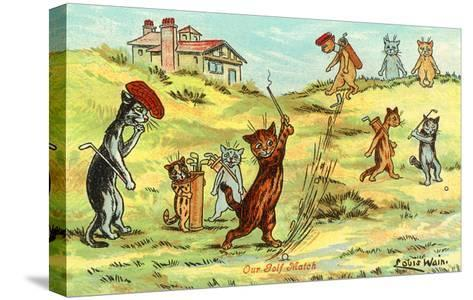 Cats Playing Golf--Stretched Canvas Print