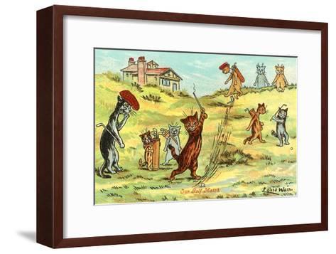 Cats Playing Golf--Framed Art Print