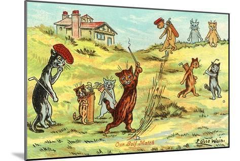 Cats Playing Golf--Mounted Art Print