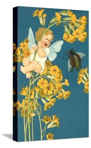 Baby Cherub Crying at Scarab--Stretched Canvas Print