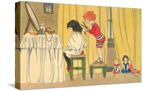 Playing Barber Shop--Stretched Canvas Print