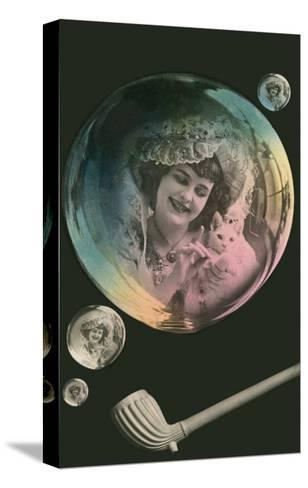 Lady in Bubble Playing with Kitten--Stretched Canvas Print